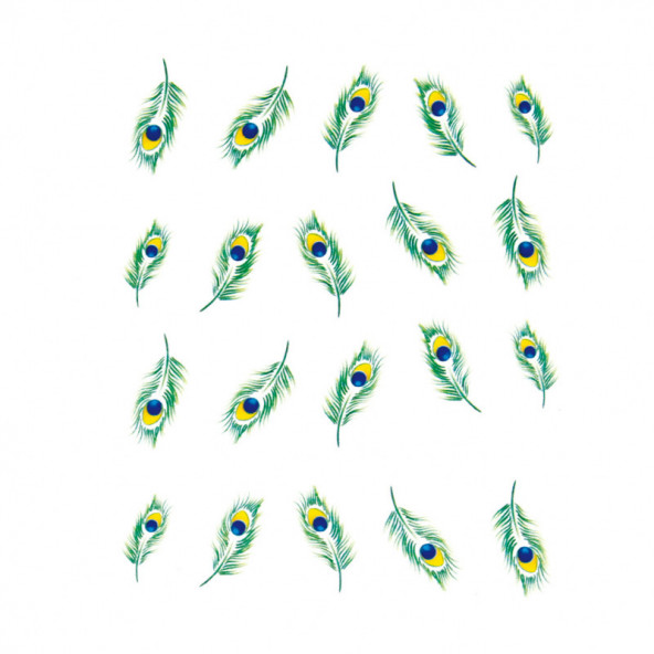 pegatinas-al-agua-plumas-verdes-de-pavo-real-1-by-Fantasy-Nails